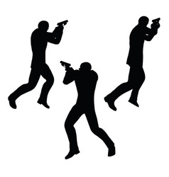 gunman businessman silhouette in black vector image