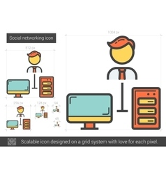 Social networking line icon vector