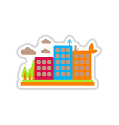 Paper sticker on white background eco-city vector
