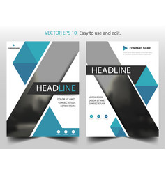 Blue triangle business brochure leaflet flyer vector