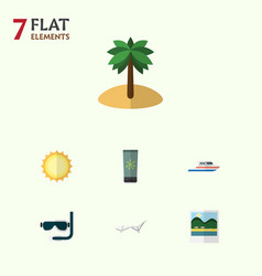 Flat icon summer set of boat reminders sunshine vector