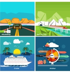 Icons set of traveling and planning a vacation vector