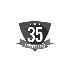 35 years anniversary badge sign and emblem flat vector