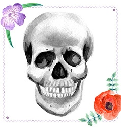 Watercolor human skull with flowers vector