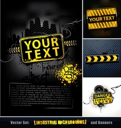 Set of industrial backgrounds and banners vector