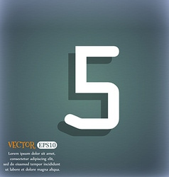 Number five icon sign on the blue-green abstract vector