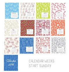 Calendar 2016 template set with floral patterns vector