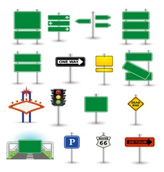 Set of green signs vector