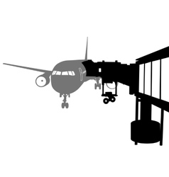 Jet airplane docked in airport vector