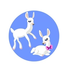 Two cartoon white gentle lamb vector