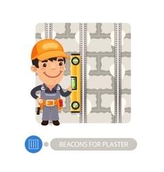 Worker installing beacons for plaster vector