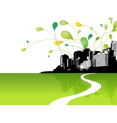 Abstract sky with city scape and green leafs at vector