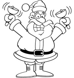 Cartoon santa claus ringing bells vector