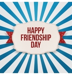 Happy friendship day greeting text on emblem vector
