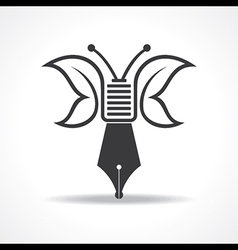 butterfly design with nib stock vector image