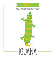 alphabet letter i and iguana vector image vector image