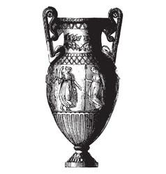 Amphora is a grecian vase with two handles vector