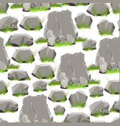 cartoon stones with grass seamless pattern vector image vector image