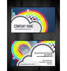 colorful abstract business card design vector image vector image