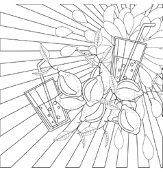 Coloring book page lemons and juice vector