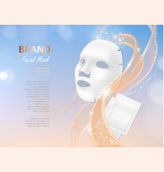 Cosmetic banner with 3d facial mask vector