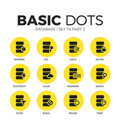 database flat icons set vector image
