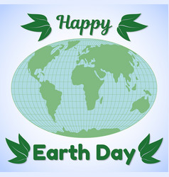 Earth day theme greeting card or banner world map vector