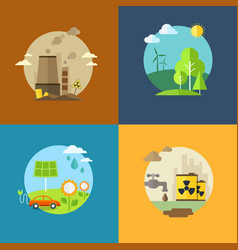 Ecology and pollution flat banners set with icons vector