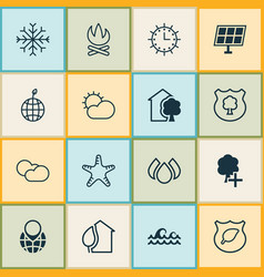 Ecology icons set collection of clear climate vector