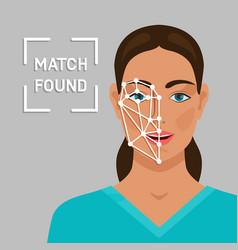 Facial recognition concept with a female face vector