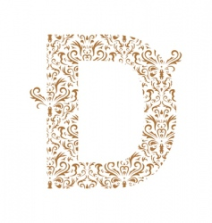 Floral letter d ornament font vector