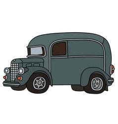 Funny retro delivery car vector