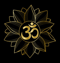 Gold om and lotus vector