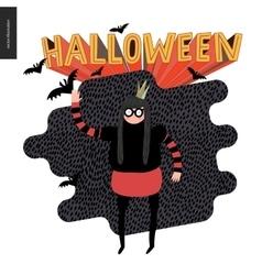 Halloween with a waving girl vector