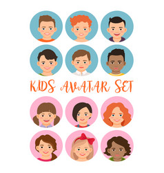 kids boys and girls avatar set vector image vector image
