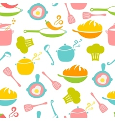 Kitchen elements seamless pattern vector image