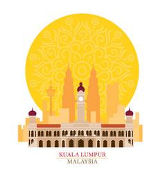 Kuala lumpur malaysia with decoration background vector