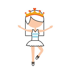 Little girl danced ballet with tutu dress and vector