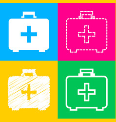 Medical first aid box sign four styles of icon on vector