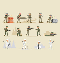 military army collection vector image vector image