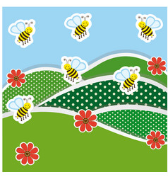 Mountains with flowers and bees icon vector