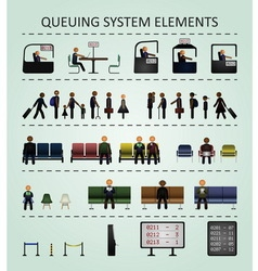 Queuing system elements vector image