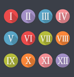 roman numerals icon set vector image