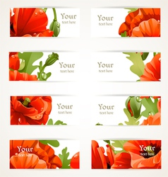 Set floral banners with fragments of red poppies vector image