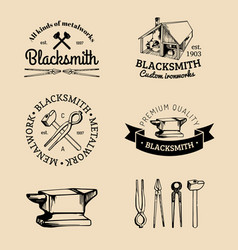 Set of hand sketched blacksmith logos vector