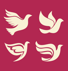 set of silhouettes of dove vector image
