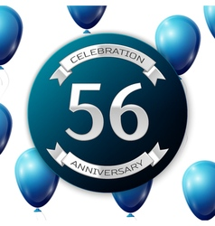 Silver number fifty six years anniversary vector