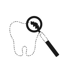 tooth and dental tool icon vector image vector image