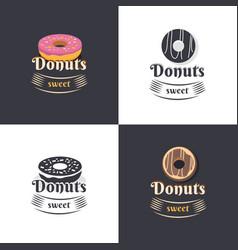 vintage logos donuts vector image vector image