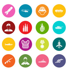war icons many colors set vector image